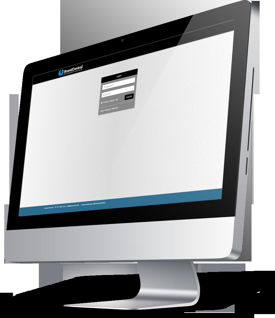 iMac skærm med BrandCentral-løsning åben i browseren